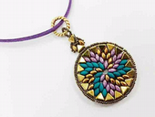 Swirl Pendant Jewellery Kit with Kheops Par Puca and SuperDuos - Lilac, Petrol and Gold